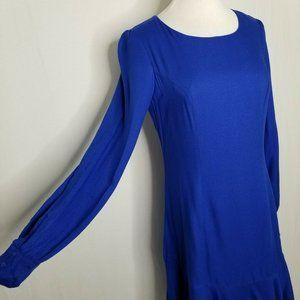 Bar III Dresses - Bar III Cobalt Blue Ruffle-Hem Fit Flare LS Dress